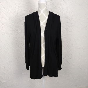 Coin 1804 Black Open Front Long Sleeve Cardigan